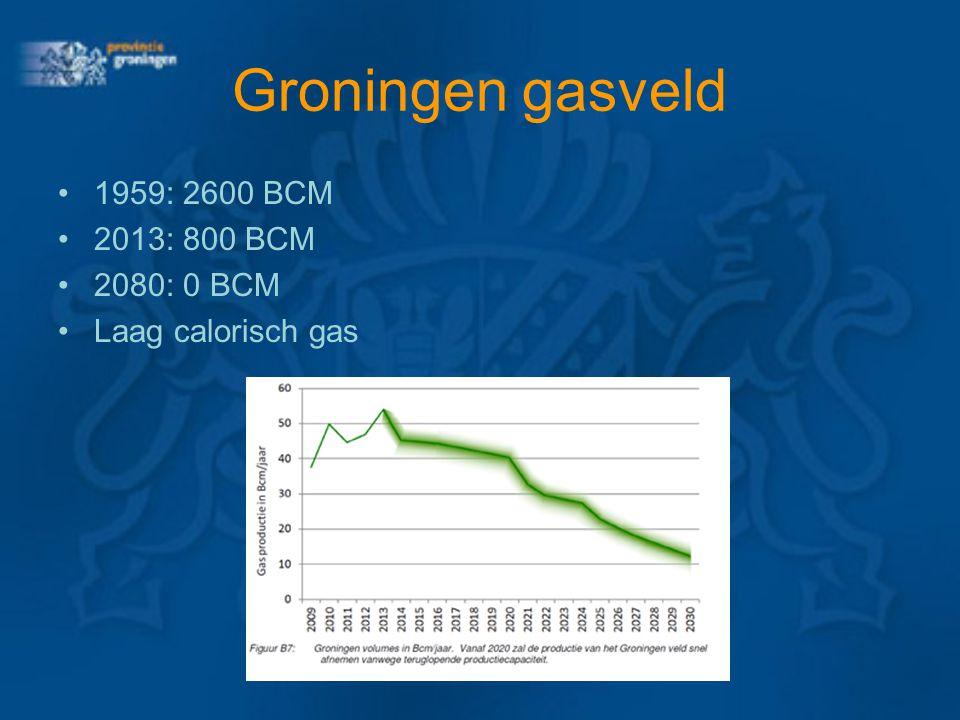 Groningen gasveld 1959: 2600 BCM 2013: 800 BCM 2080: 0 BCM Laag calorisch gas