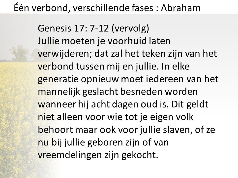 Één verbond, verschillende fases : Abraham Genesis 17: 7-12 (vervolg) Jullie moeten je voorhuid laten verwijderen; dat zal het teken zijn van het verb