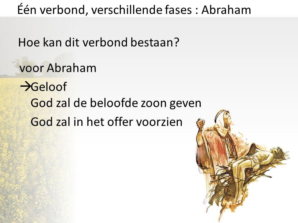 Één verbond, verschillende fases : Abraham Hoe kan dit verbond bestaan? voor Abraham  Geloof God zal de beloofde zoon geven God zal in het offer voor