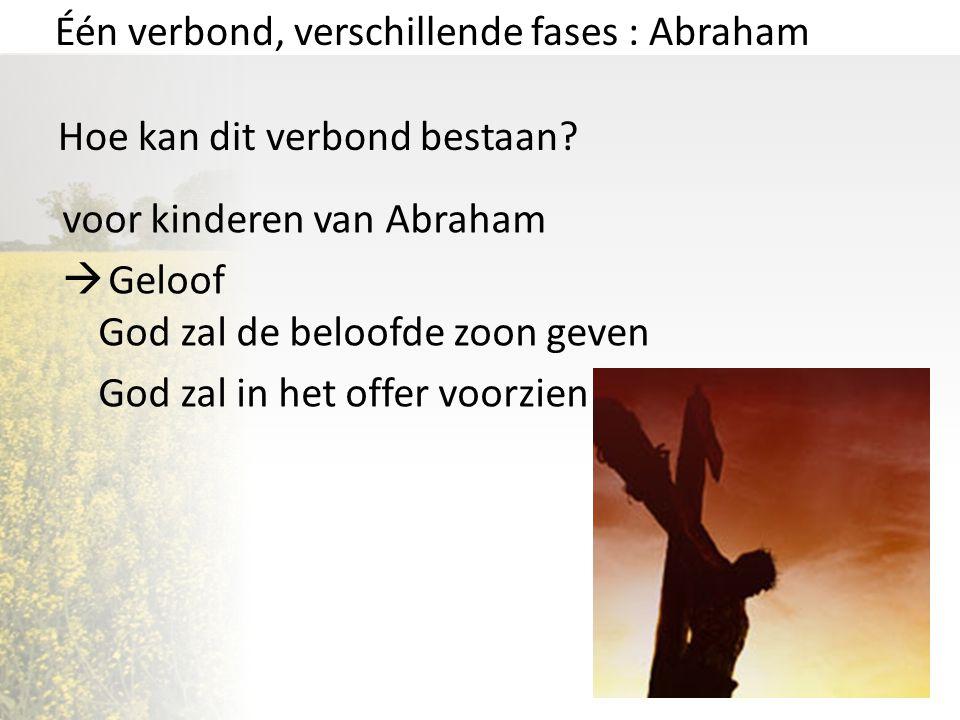 Één verbond, verschillende fases : Abraham Hoe kan dit verbond bestaan? voor kinderen van Abraham  Geloof God zal de beloofde zoon geven God zal in h