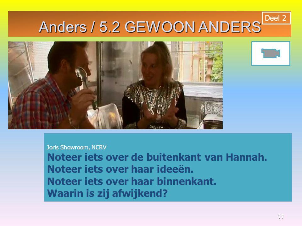 11 Joris Showroom, NCRV Noteer iets over de buitenkant van Hannah. Noteer iets over haar ideeën. Noteer iets over haar binnenkant. Waarin is zij afwij
