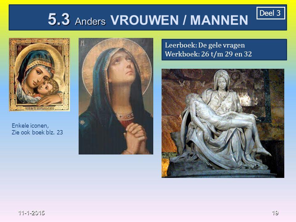 19 11-1-2015 5.3 Anders 5.3 Anders VROUWEN / MANNEN Deel 3 Leerboek: De gele vragen Werkboek: 26 t/m 29 en 32 Enkele iconen, Zie ook boek blz. 23