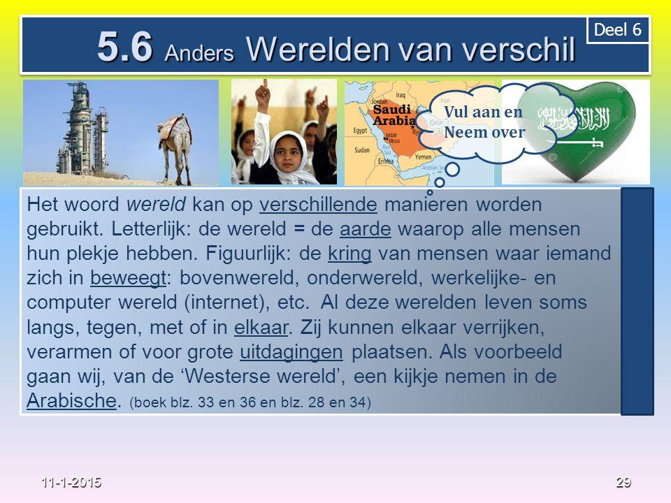 29 11-1-2015 5.6 Anders Werelden van verschil Het woord wereld kan op verschillende manieren worden gebruikt. Letterlijk: de wereld = de aarde waarop