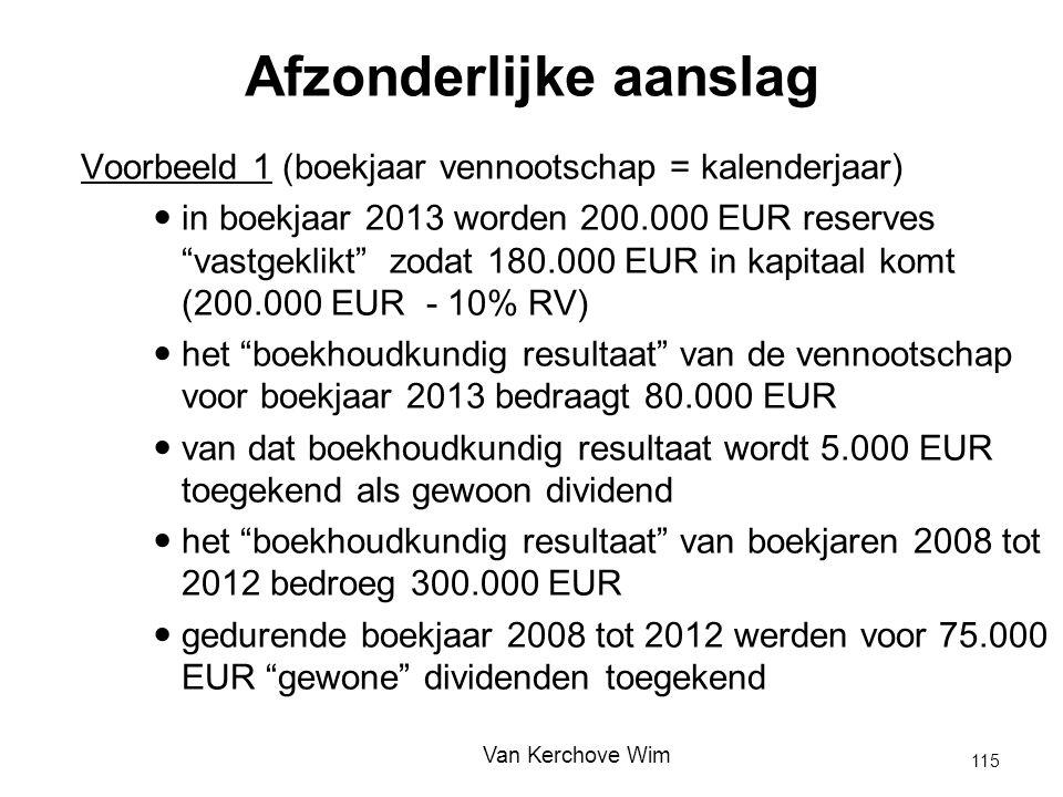 """Voorbeeld 1 (boekjaar vennootschap = kalenderjaar) in boekjaar 2013 worden 200.000 EUR reserves """"vastgeklikt"""" zodat 180.000 EUR in kapitaal komt (200."""