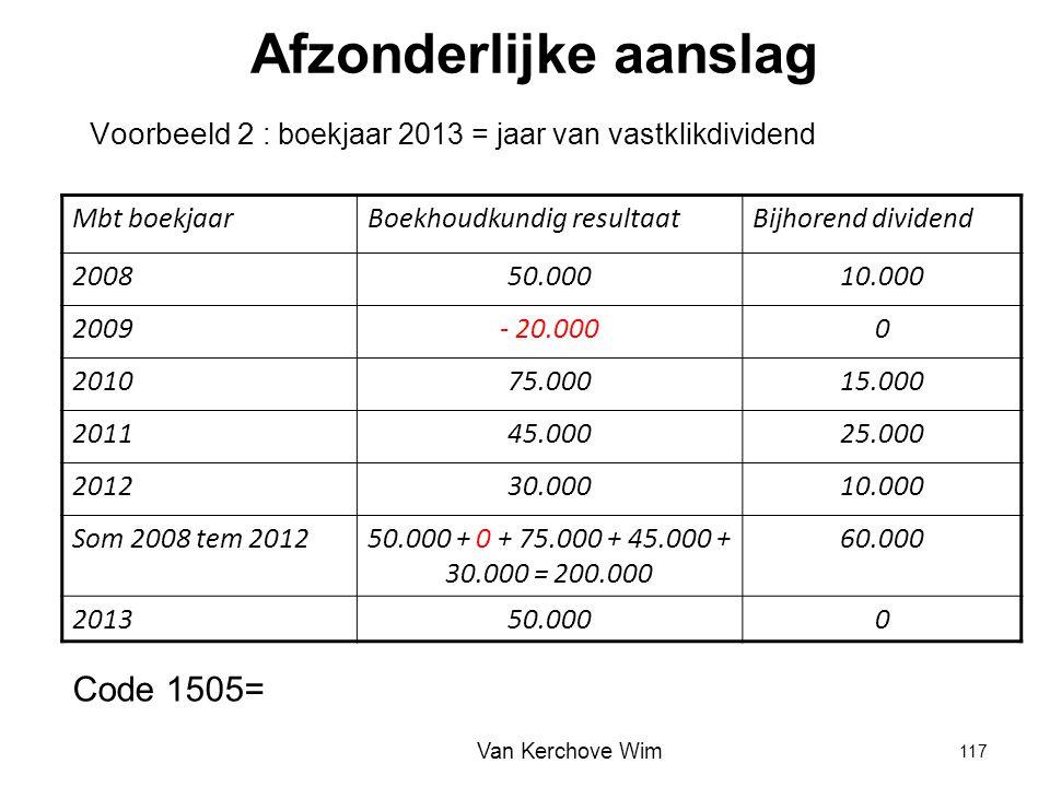 Afzonderlijke aanslag Voorbeeld 2 : boekjaar 2013 = jaar van vastklikdividend Mbt boekjaarBoekhoudkundig resultaatBijhorend dividend 200850.00010.000