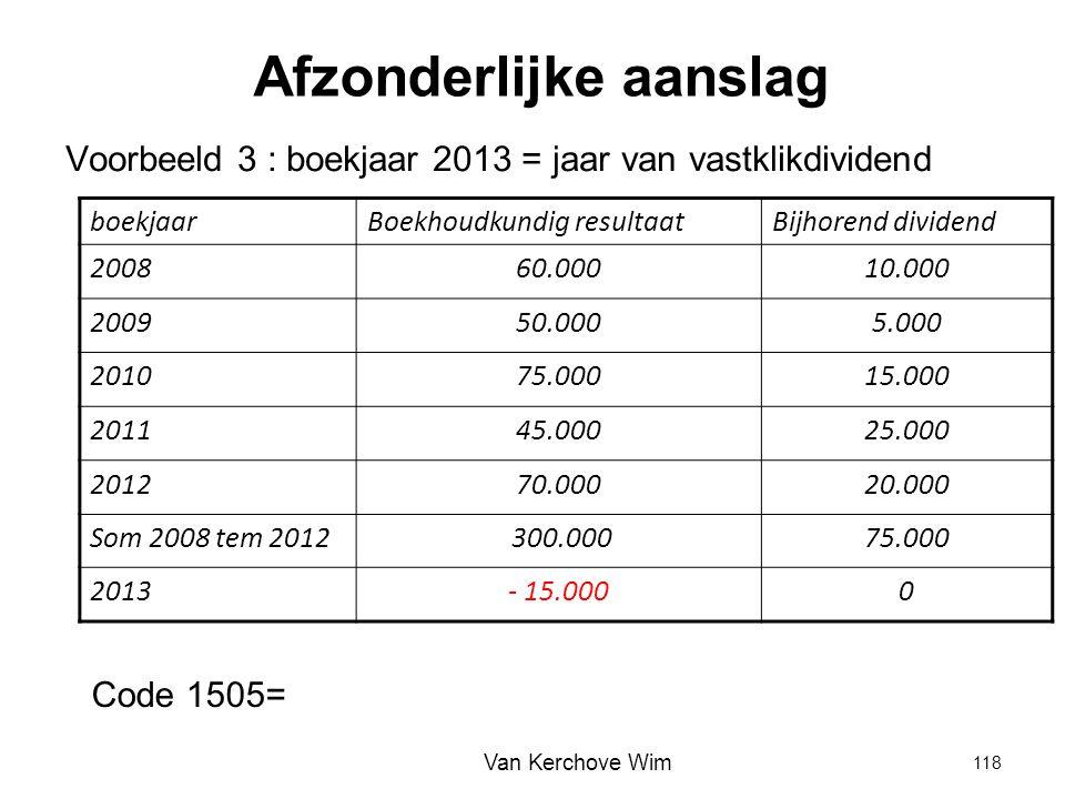 Afzonderlijke aanslag Voorbeeld 3 : boekjaar 2013 = jaar van vastklikdividend boekjaarBoekhoudkundig resultaatBijhorend dividend 200860.00010.000 2009