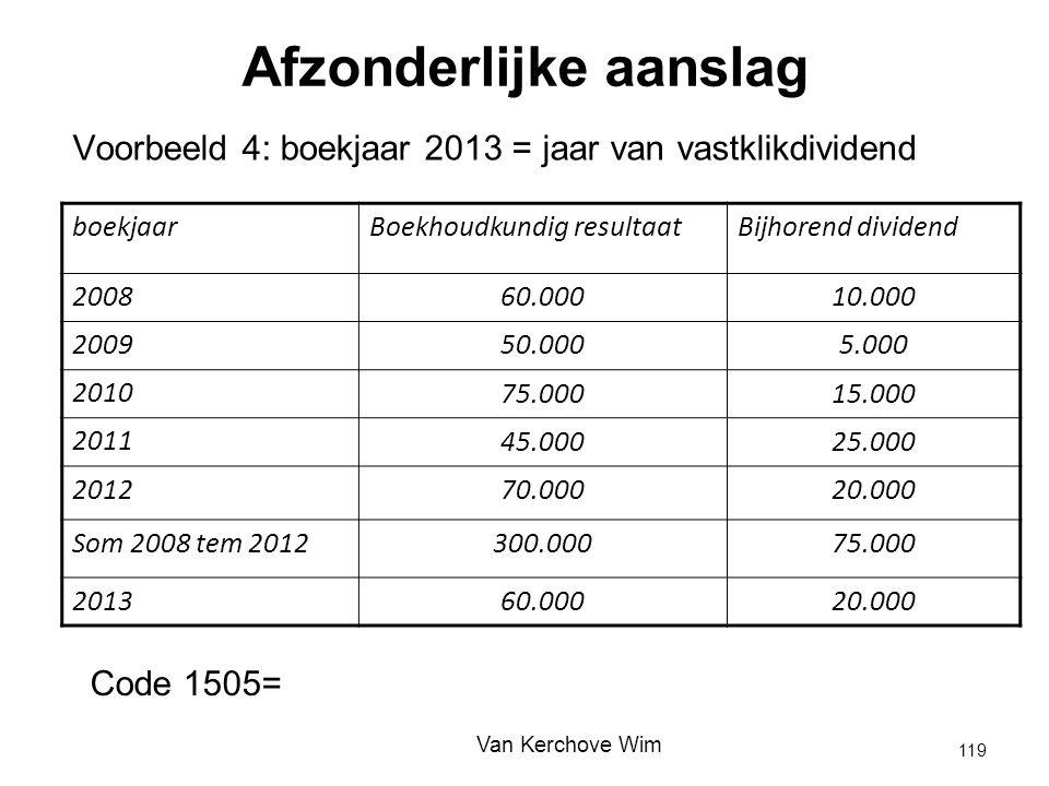 Afzonderlijke aanslag Voorbeeld 4: boekjaar 2013 = jaar van vastklikdividend boekjaarBoekhoudkundig resultaatBijhorend dividend 2008 60.00010.000 2009