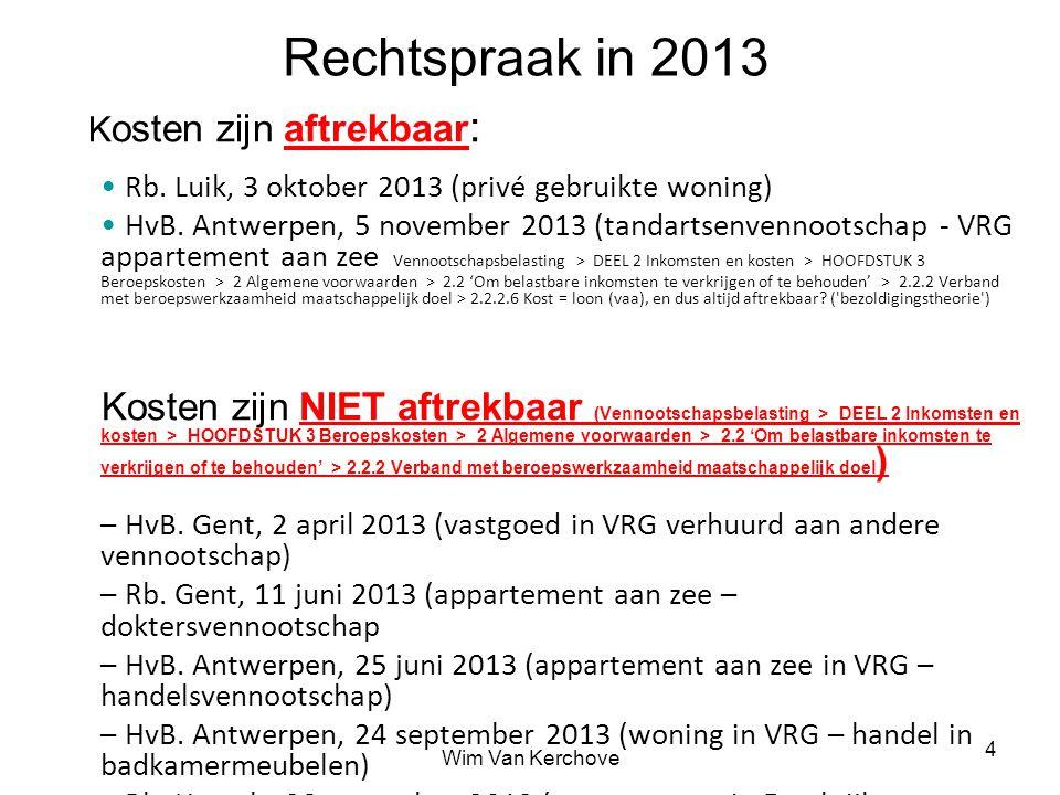 Wim Van Kerchove 5 Kilometervergoeding gebruik wagen Km-vergoeding van overheid van 1 juli 2012 tot 30 juni 2013 = 0,3456 EUR/km van 1 juli 2013 tot 30 juni 2014 = 0,3461 EUR/km = beperkt aftrekbare autokosten voor de vennootschap Hogere km-vergoeding dan die van overheid.