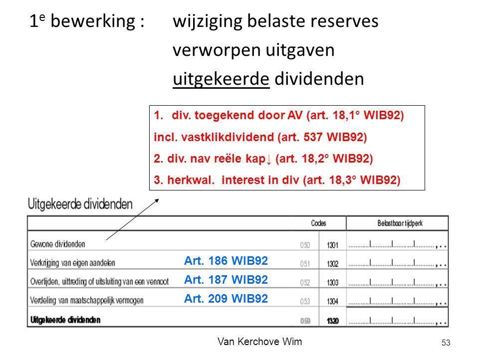 1 e bewerking :wijziging belaste reserves verworpen uitgaven uitgekeerde dividenden 1.div. toegekend door AV (art. 18,1° WIB92) incl. vastklikdividend