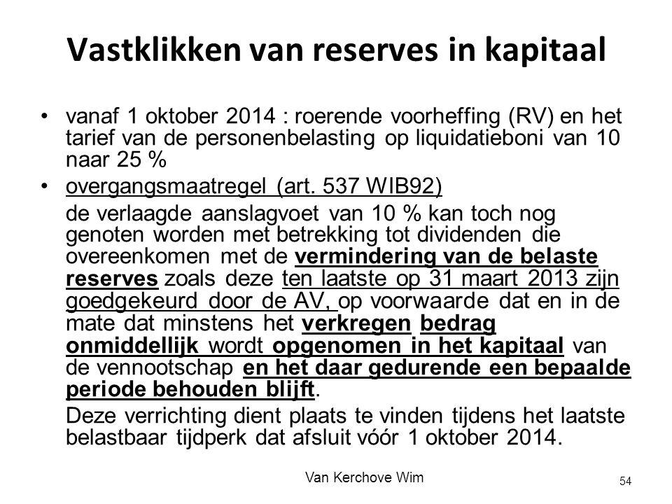 Vastklikken van reserves in kapitaal vanaf 1 oktober 2014 : roerende voorheffing (RV) en het tarief van de personenbelasting op liquidatieboni van 10