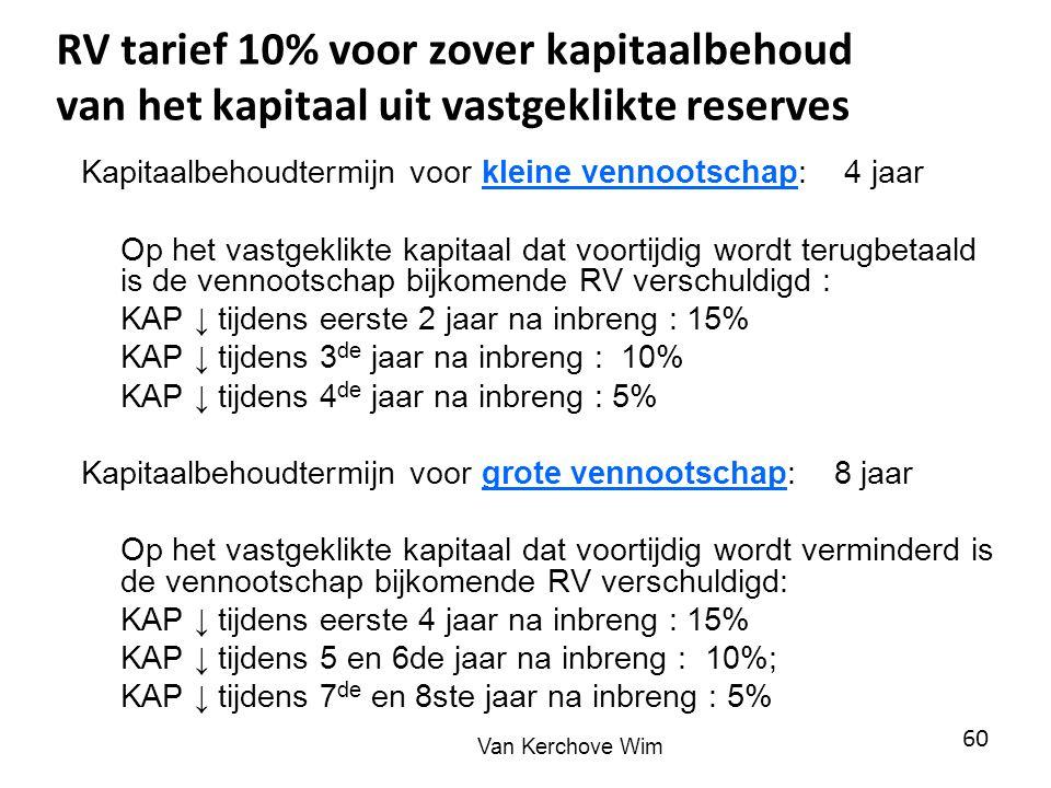 RV tarief 10% voor zover kapitaalbehoud van het kapitaal uit vastgeklikte reserves Kapitaalbehoudtermijn voor kleine vennootschap: 4 jaar Op het vastg