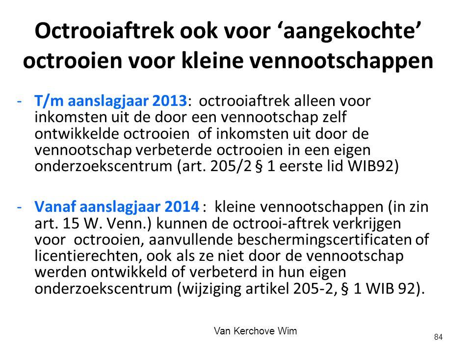 Octrooiaftrek ook voor 'aangekochte' octrooien voor kleine vennootschappen -T/m aanslagjaar 2013: octrooiaftrek alleen voor inkomsten uit de door een