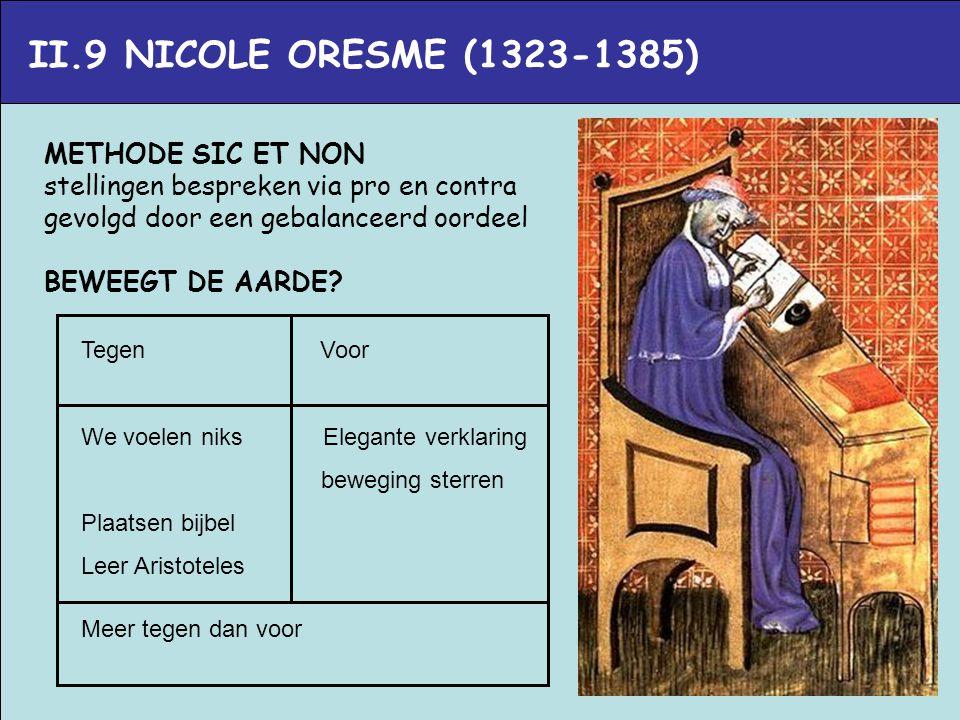 II.9 NICOLE ORESME (1323-1385) METHODE SIC ET NON stellingen bespreken via pro en contra gevolgd door een gebalanceerd oordeel BEWEEGT DE AARDE? Tegen