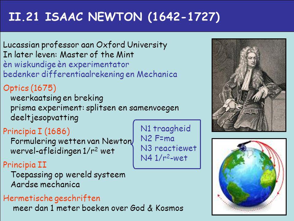 II.21 ISAAC NEWTON (1642-1727) Lucassian professor aan Oxford University In later leven: Master of the Mint èn wiskundige èn experimentator bedenker d
