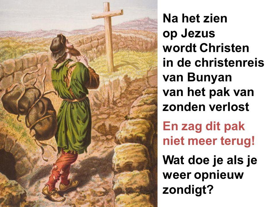 Na het zien op Jezus wordt Christen in de christenreis van Bunyan van het pak van zonden verlost En zag dit pak niet meer terug! Wat doe je als je wee