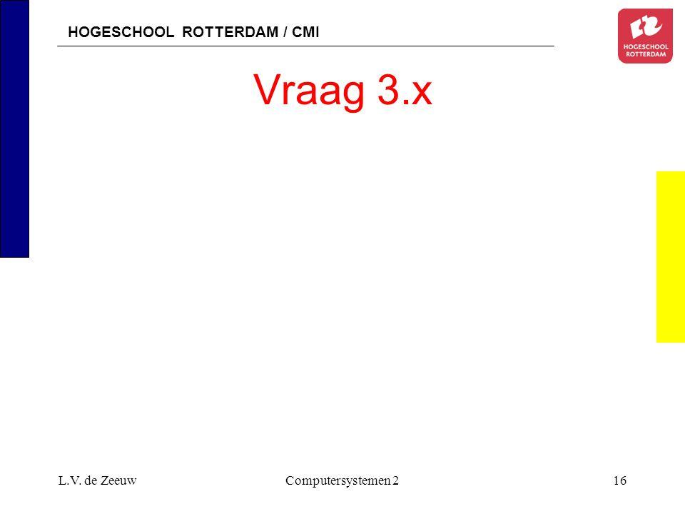 HOGESCHOOL ROTTERDAM / CMI L.V. de ZeeuwComputersystemen 216 Vraag 3.x