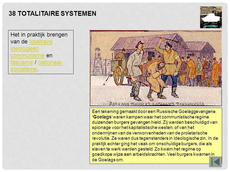 38 TOTALITAIRE SYSTEMEN Het fascisme (maar ook het nationaal-socialisme) vond oorlogvoeren de natuurlijke taak van de man en kinderen baren de natuurlijke taak van de vrouw.