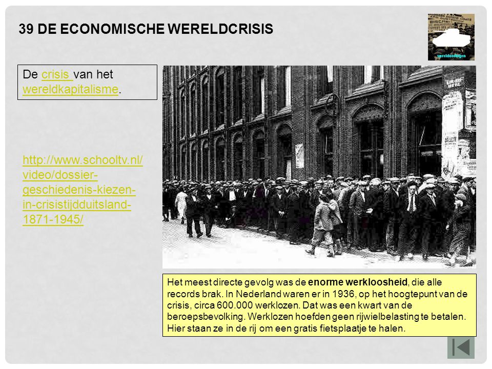 39 DE ECONOMISCHE WERELDCRISIS De crisis van het wereldkapitalisme.crisis wereldkapitalisme Een structurele oorzaak was het overspannen consumptiepatroon in de jaren twintig; met advertenties werden Amerikanen aangemoedigd om zoveel mogelijk te kopen, desnoods op afbetaling.