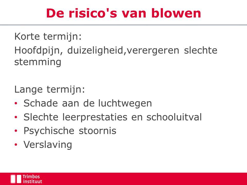 De risico's van blowen Korte termijn: Hoofdpijn, duizeligheid,verergeren slechte stemming Lange termijn: Schade aan de luchtwegen Slechte leerprestati