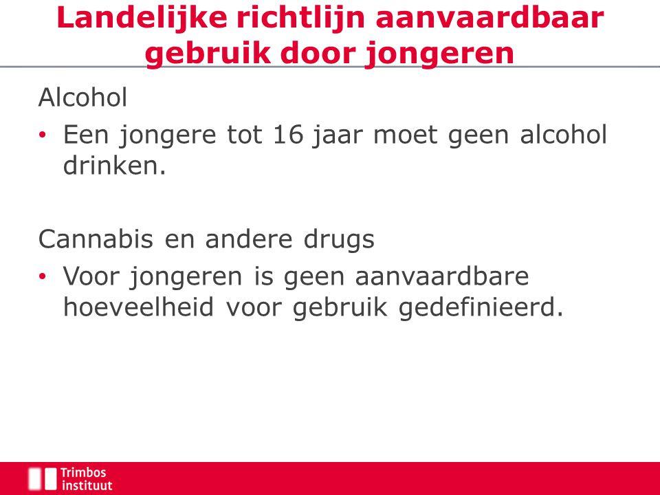 Landelijke richtlijn aanvaardbaar gebruik door jongeren Alcohol Een jongere tot 16 jaar moet geen alcohol drinken. Cannabis en andere drugs Voor jonge