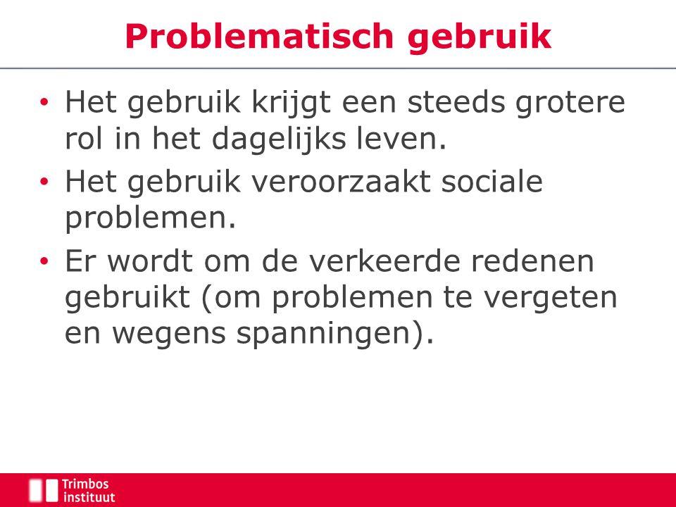 Problematisch gebruik Het gebruik krijgt een steeds grotere rol in het dagelijks leven.