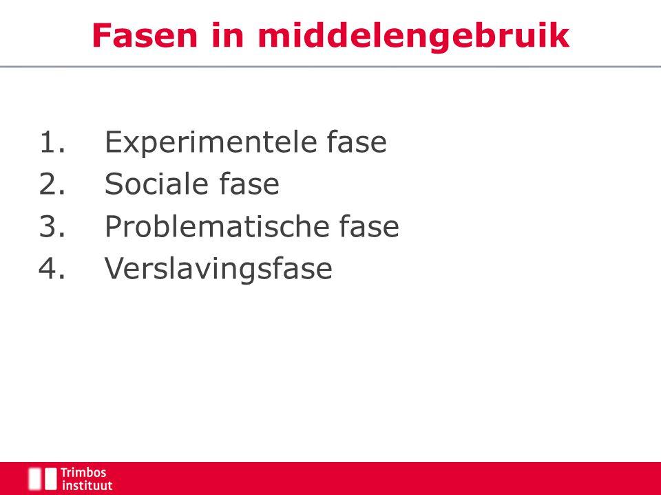 Fasen in middelengebruik 1.Experimentele fase 2.Sociale fase 3. Problematische fase 4. Verslavingsfase