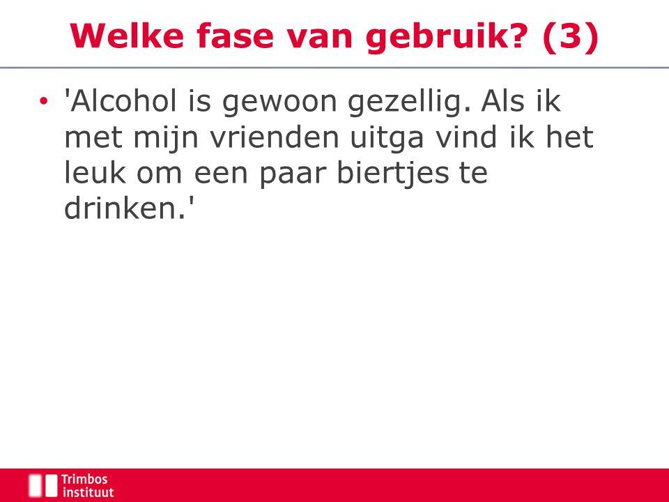 Welke fase van gebruik? (3) 'Alcohol is gewoon gezellig. Als ik met mijn vrienden uitga vind ik het leuk om een paar biertjes te drinken.'