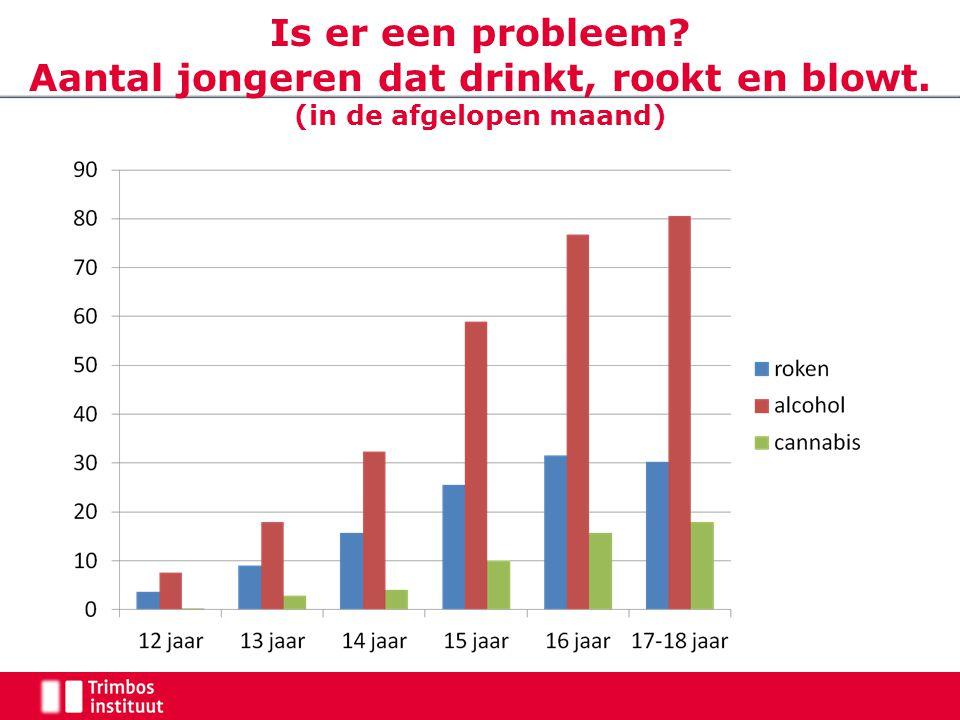 Is er een probleem? Aantal jongeren dat drinkt, rookt en blowt. (in de afgelopen maand)