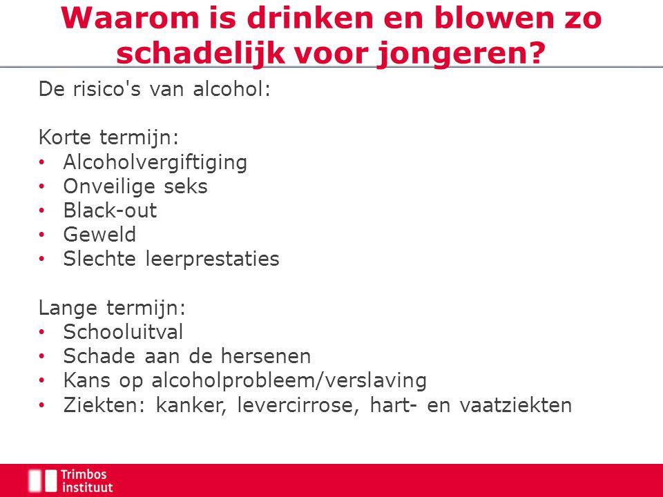 Waarom is drinken en blowen zo schadelijk voor jongeren? De risico's van alcohol: Korte termijn: Alcoholvergiftiging Onveilige seks Black-out Geweld S