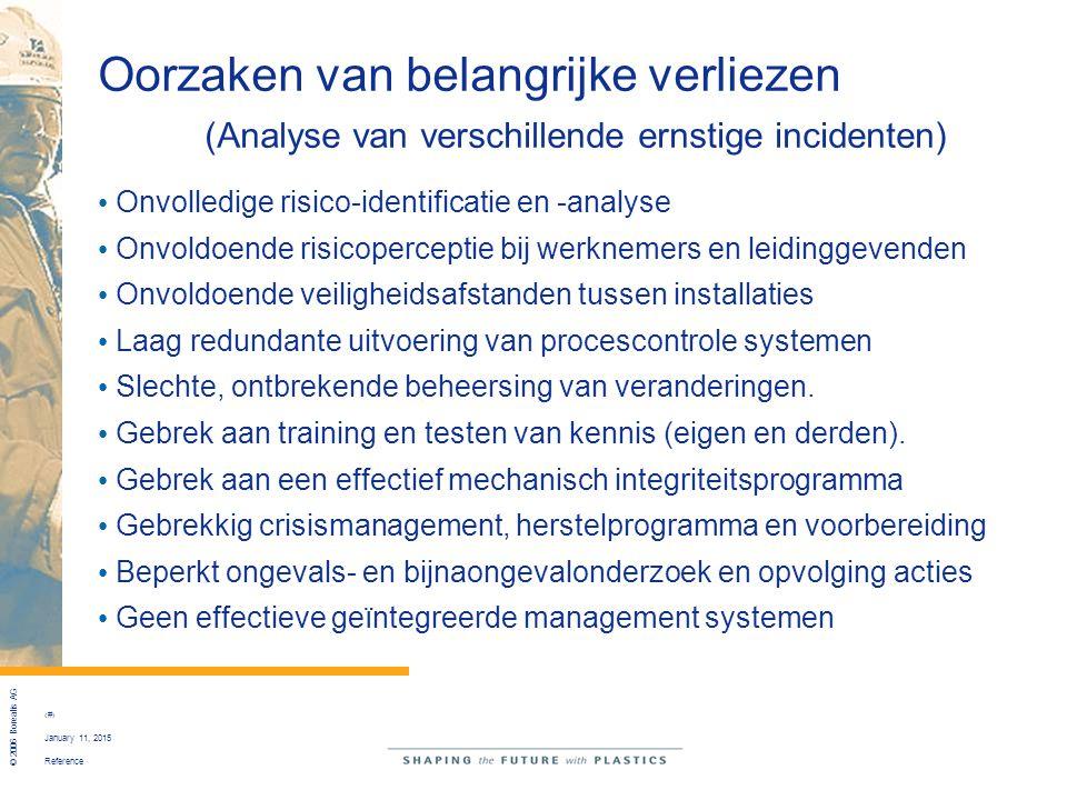 Reference © 2006 Borealis AG 12 January 11, 2015 Oorzaken van belangrijke verliezen (Analyse van verschillende ernstige incidenten) Onvolledige risico