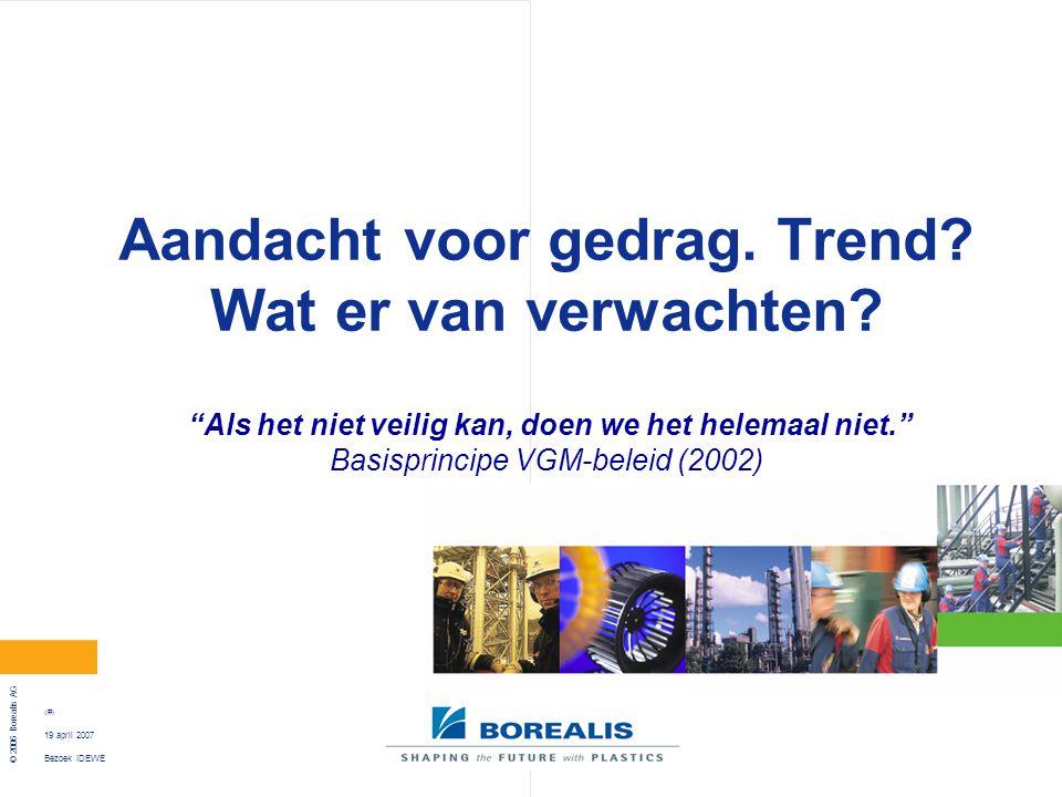 """Bezoek IDEWE © 2006 Borealis AG 14 19 april 2007 Aandacht voor gedrag. Trend? Wat er van verwachten? """"Als het niet veilig kan, doen we het helemaal ni"""