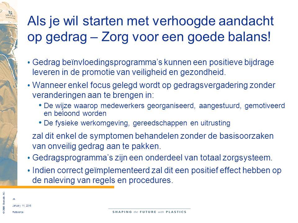 Reference © 2006 Borealis AG 17 January 11, 2015 Als je wil starten met verhoogde aandacht op gedrag – Zorg voor een goede balans! Gedrag beïnvloeding