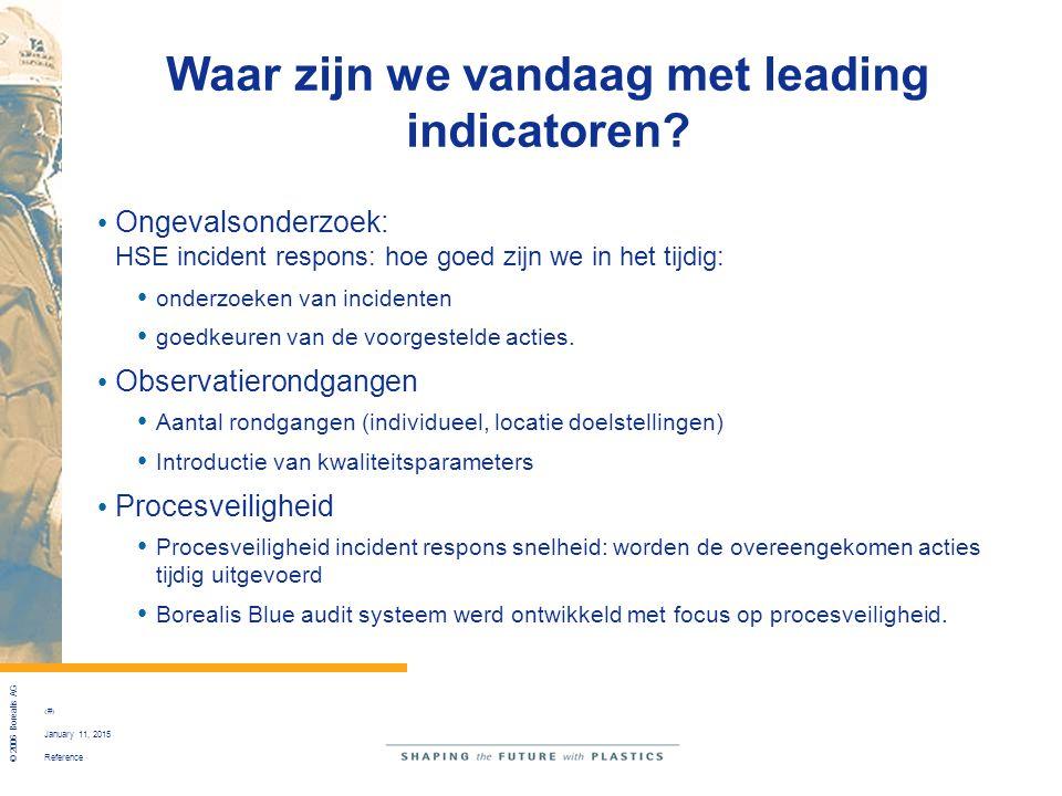 Reference © 2006 Borealis AG 24 January 11, 2015 Waar zijn we vandaag met leading indicatoren? Ongevalsonderzoek: HSE incident respons: hoe goed zijn
