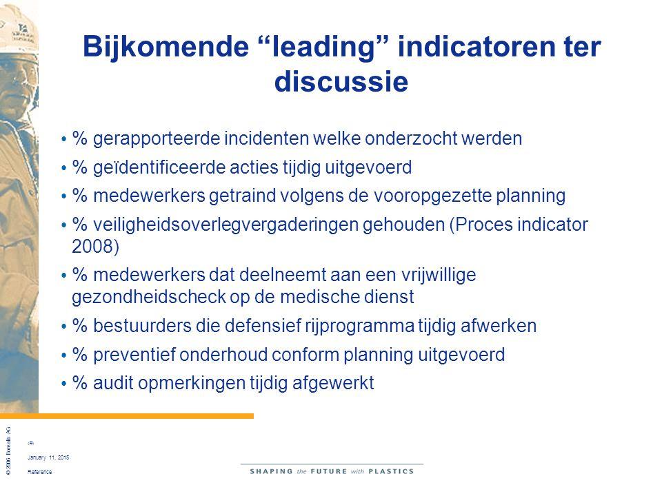 """Reference © 2006 Borealis AG 25 January 11, 2015 Bijkomende """"leading"""" indicatoren ter discussie % gerapporteerde incidenten welke onderzocht werden %"""