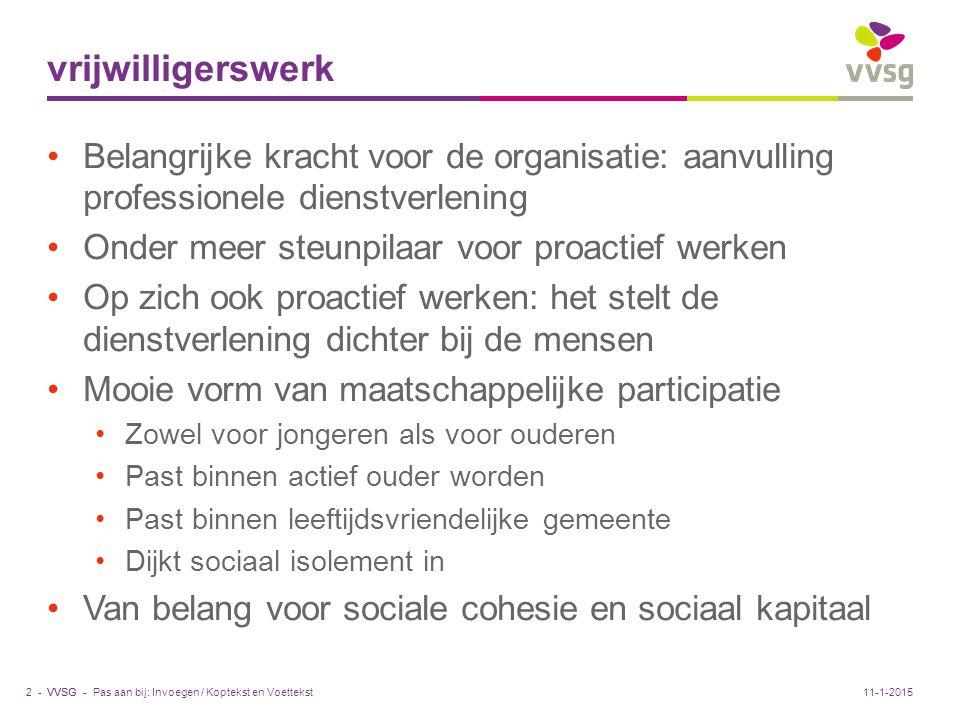 VVSG - Grenzen aan vrijwilligerswerk Waar eindigt vrijwilligerswerk, waar begint professioneel werk.