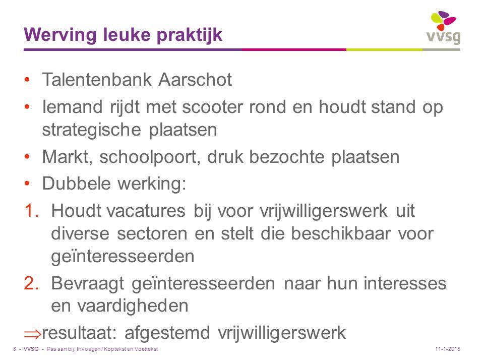 VVSG - Steunpunten en infobronnen www.vrijwilligerswerk.be www.weliswaar.be/nieuws/p/categorie/vrijwilligers werkwww.weliswaar.be/nieuws/p/categorie/vrijwilligers werk www.presentweb.be, doorklikken naar Publicatieswww.presentweb.be www.zorgbetermetvrijwilligers.nl www.succesvolvrijwilligen.be Pas aan bij: Invoegen / Koptekst en Voettekst29 -11-1-2015