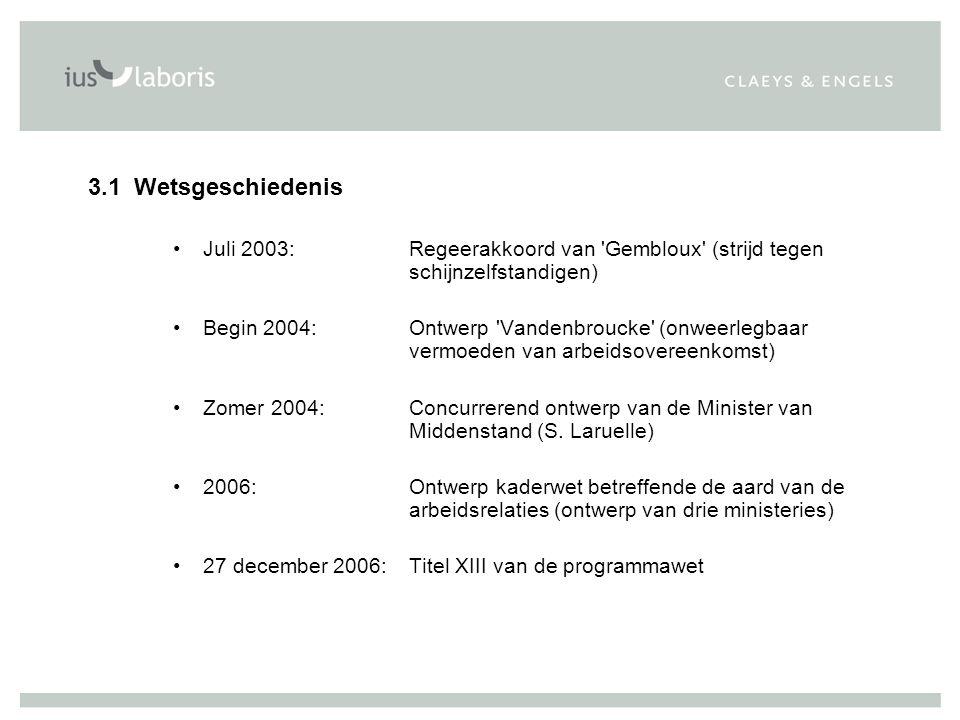 3.1Wetsgeschiedenis Juli 2003: Regeerakkoord van 'Gembloux' (strijd tegen schijnzelfstandigen) Begin 2004: Ontwerp 'Vandenbroucke' (onweerlegbaar verm