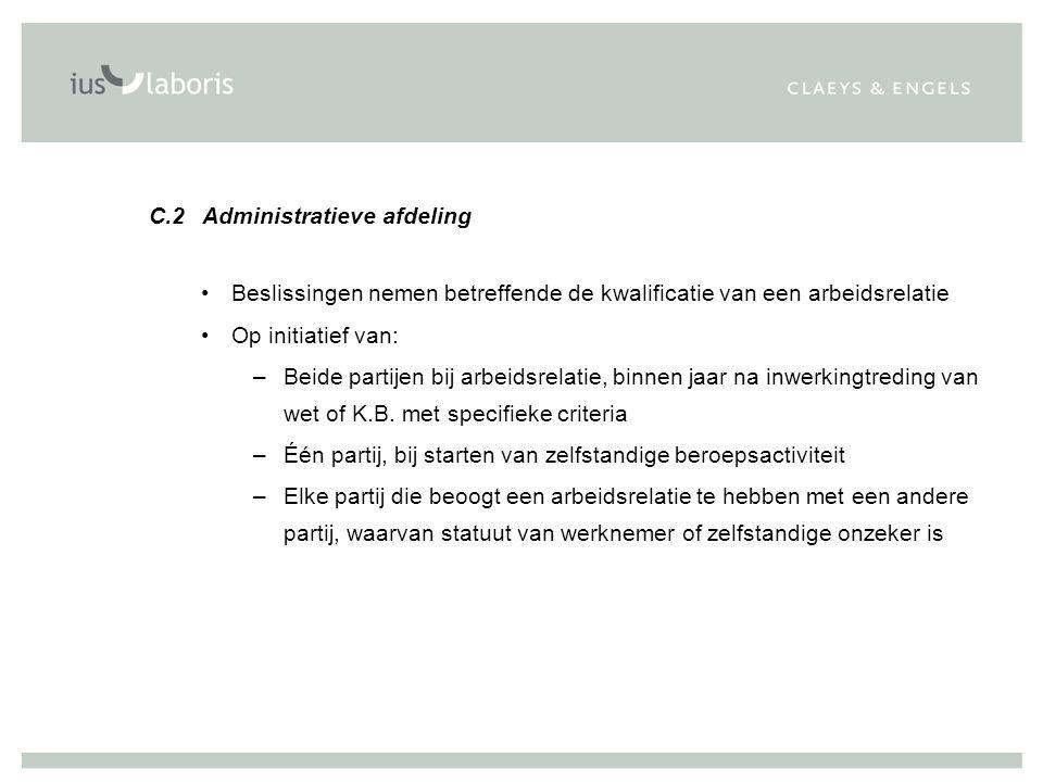C.2 Administratieve afdeling Beslissingen nemen betreffende de kwalificatie van een arbeidsrelatie Op initiatief van: –Beide partijen bij arbeidsrelat