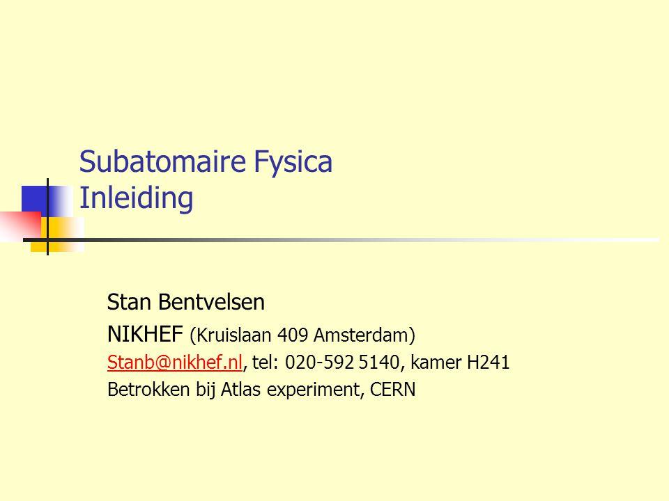 Subatomaire Fysica Inleiding Stan Bentvelsen NIKHEF (Kruislaan 409 Amsterdam) Stanb@nikhef.nlStanb@nikhef.nl, tel: 020-592 5140, kamer H241 Betrokken
