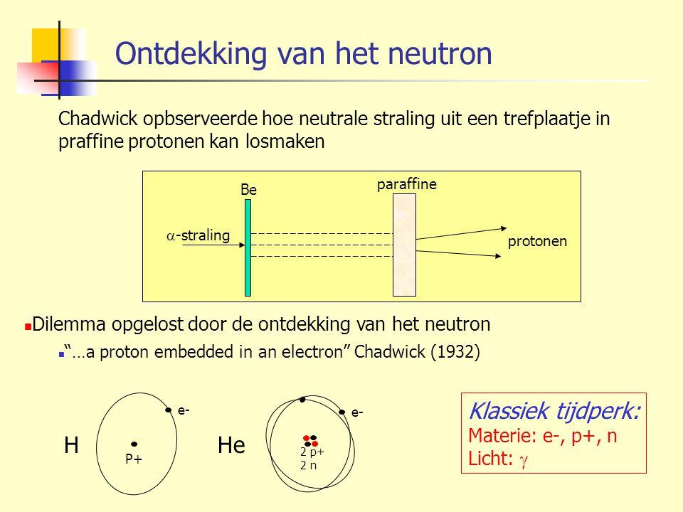 "Ontdekking van het neutron Dilemma opgelost door de ontdekking van het neutron ""…a proton embedded in an electron"" Chadwick (1932) protonen paraffine"