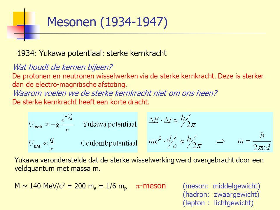Mesonen (1934-1947) 1934: Yukawa potentiaal: sterke kernkracht Wat houdt de kernen bijeen? De protonen en neutronen wisselwerken via de sterke kernkra
