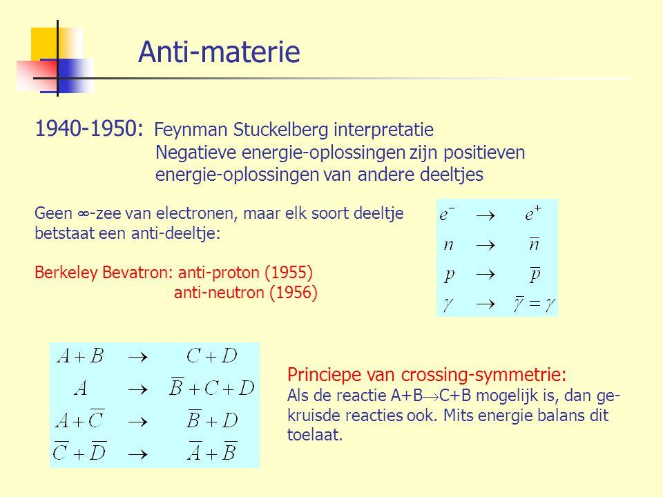 Anti-materie 1940-1950: Feynman Stuckelberg interpretatie Negatieve energie-oplossingen zijn positieven energie-oplossingen van andere deeltjes Geen 