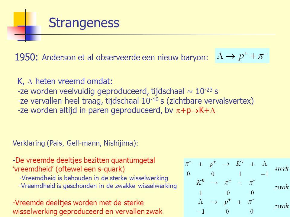 Strangeness 1950: Anderson et al observeerde een nieuw baryon: K,  heten vreemd omdat: -ze worden veelvuldig geproduceerd, tijdschaal ~ 10 -23 s -ze