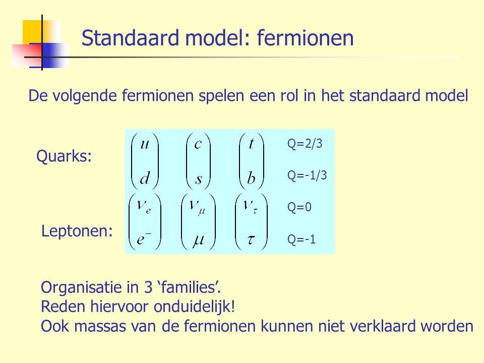 Standaard model: fermionen De volgende fermionen spelen een rol in het standaard model Organisatie in 3 'families'. Reden hiervoor onduidelijk! Ook ma