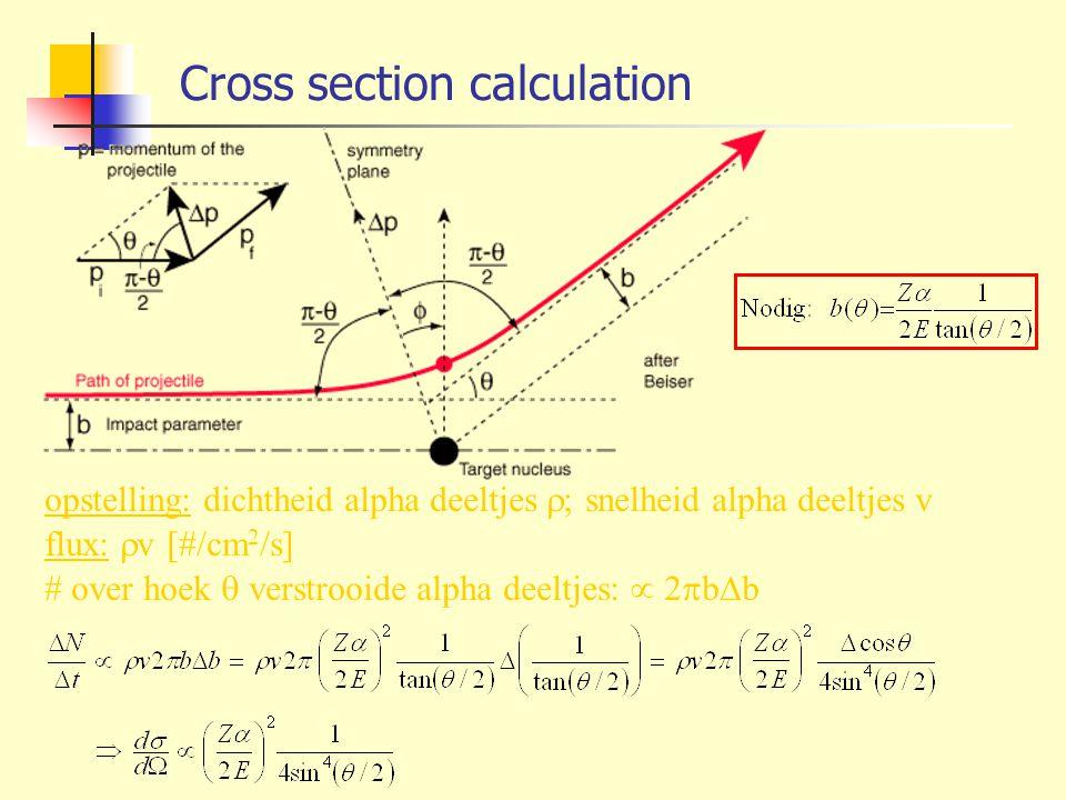 Cross section calculation opstelling: dichtheid alpha deeltjes  ; snelheid alpha deeltjes v flux:  v [#/cm 2 /s] # over hoek  verstrooide alpha dee