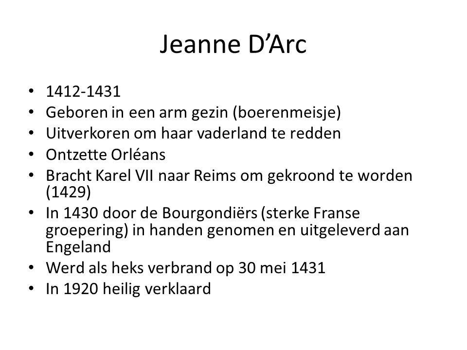 Jeanne D'Arc Ontmoeting met de kroonprins – Wandtapijt:ontmoeting in 1429 op het kasteel van Chinon – Vergezeld door zes gewapende mannen – Gegroet door Charles (droeg een gouden kroon) Dit was een teken dat hij recht had op de betwiste Franse troon
