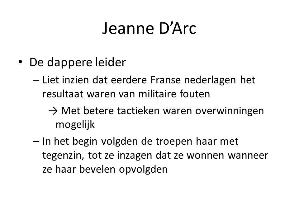 Jeanne D'Arc Haar eerste overwinning – Opheffen van de Engelse blokkade in Orléans in 1429 Vertrouwen van de troepen in haar nam toe – Deze overwinning werd opgevolgd door successen in: Jargeau Meung Beaugency Patay