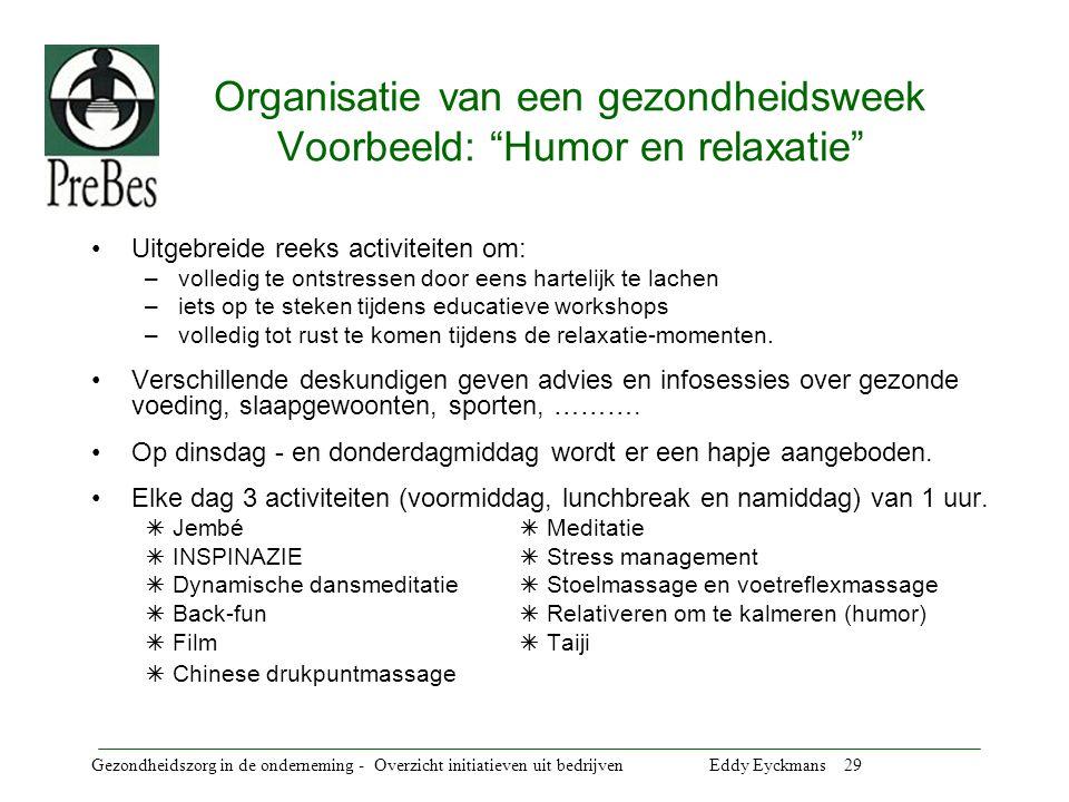 Gezondheidszorg in de onderneming - Overzicht initiatieven uit bedrijven Eddy Eyckmans 30 Veiligheids- & Milieu- BewustzijnsTeam Samenstelling Het VMBT bestaat uit vrijwilligers uit de verschillende afdelingen.
