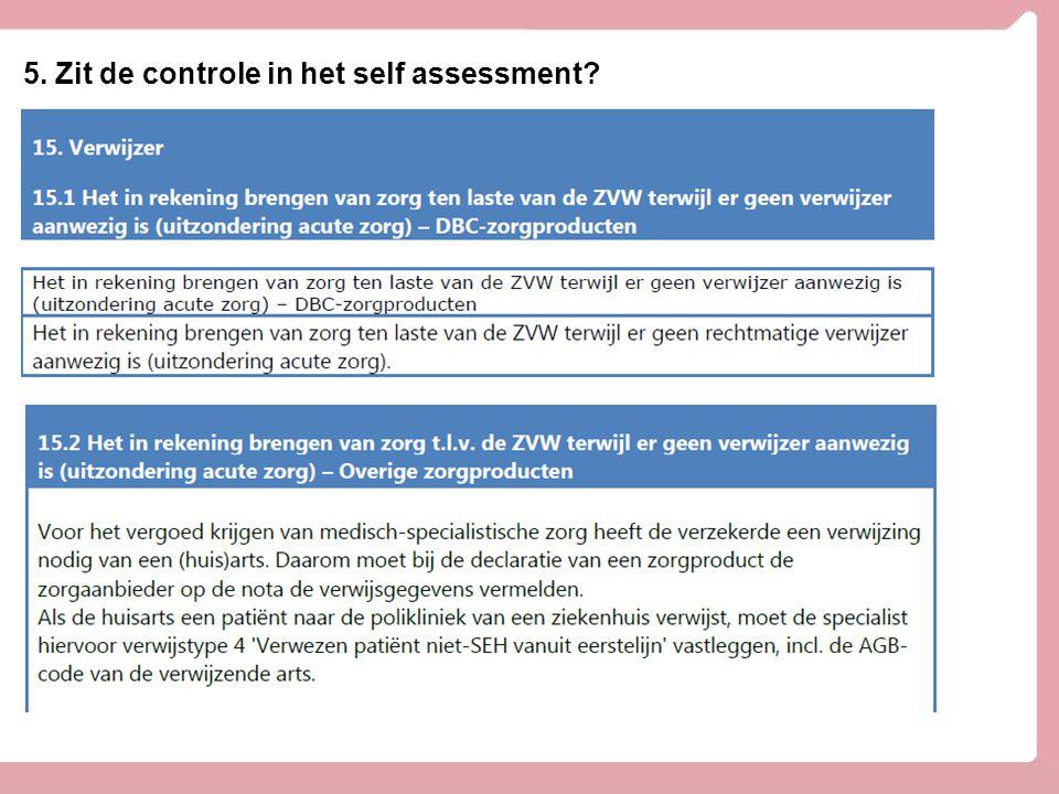 5. Zit de controle in het self assessment?