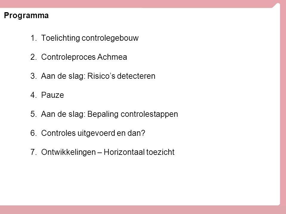 Programma 1.Toelichting controlegebouw 2.Controleproces Achmea 3.Aan de slag: Risico's detecteren 4.Pauze 5.Aan de slag: Bepaling controlestappen 6.Controles uitgevoerd en dan.